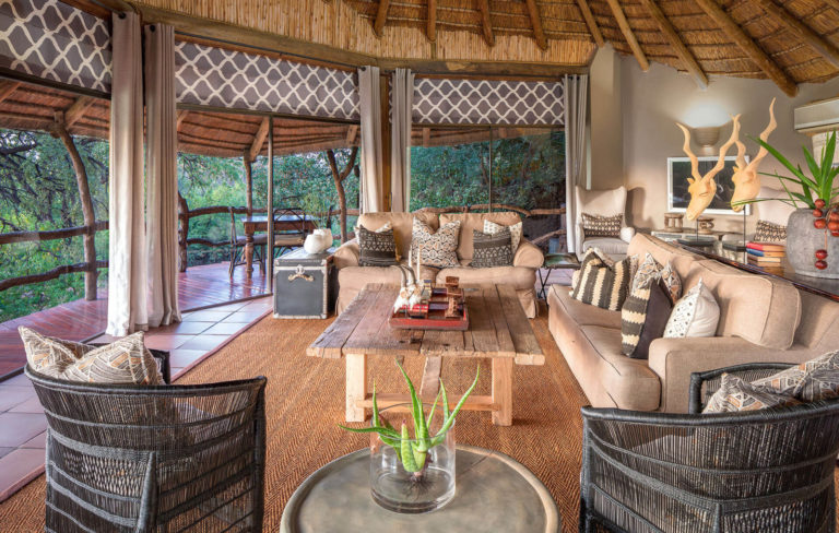 The lounge at Mashatu luxury camp