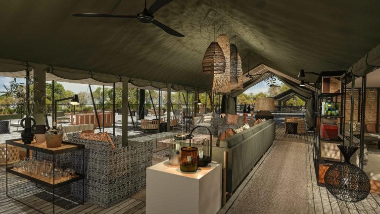 The stylish lounge and bar area at Kiri Camp