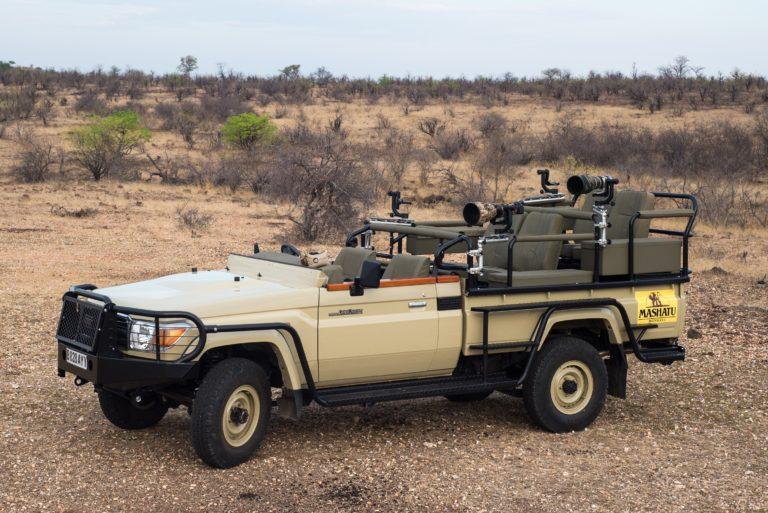 The photographic safari vehicles at Mashatu Lodge are fully equipped