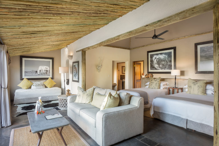 The 14 air conditioned suites at Mashatu Lodge are very spacious