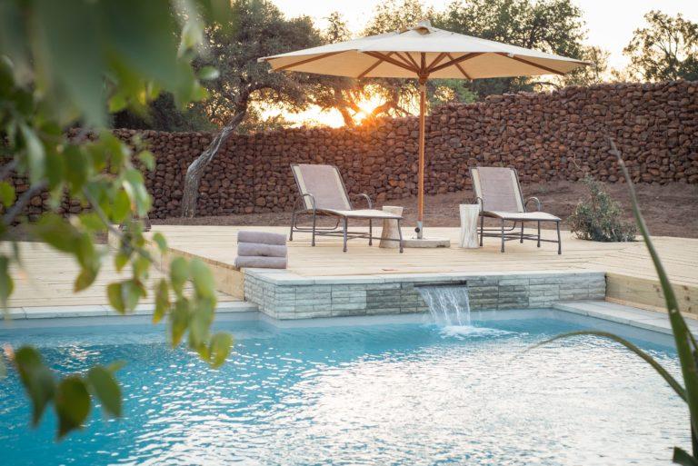 The sparkling pool at Mashatu Lodge