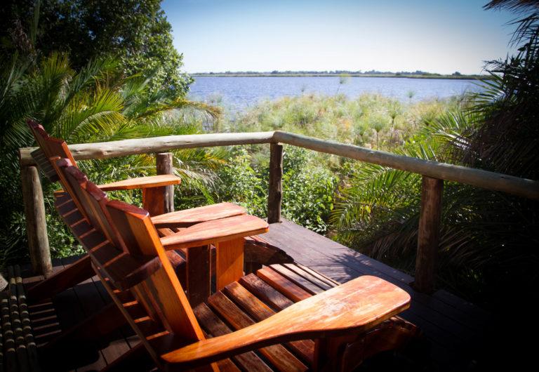 Veranda deck chair at Mopiri Camp