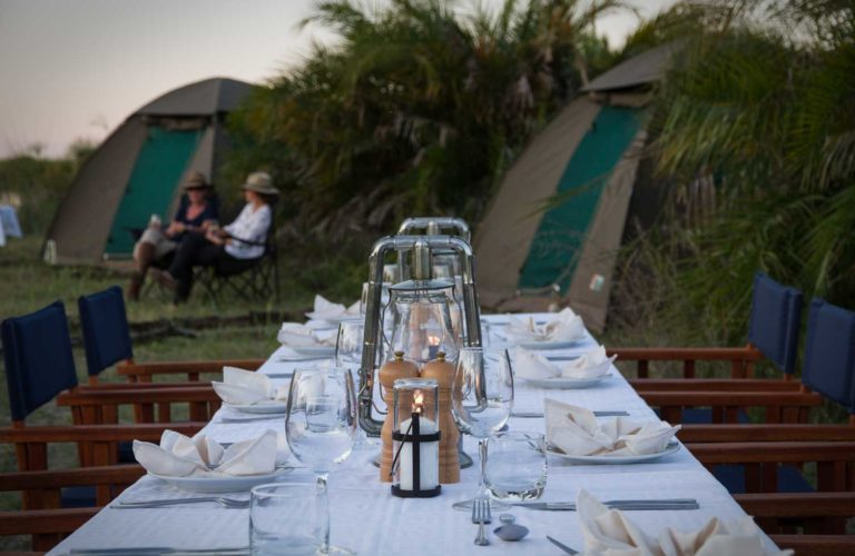 Al Fresco dining at Mopiri fly camp is a simple tasty affair