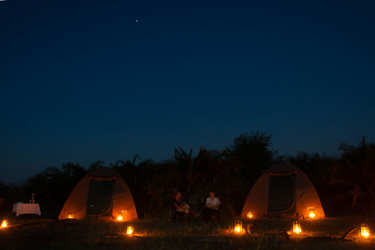 Mopiri fly camp by night and lantern light