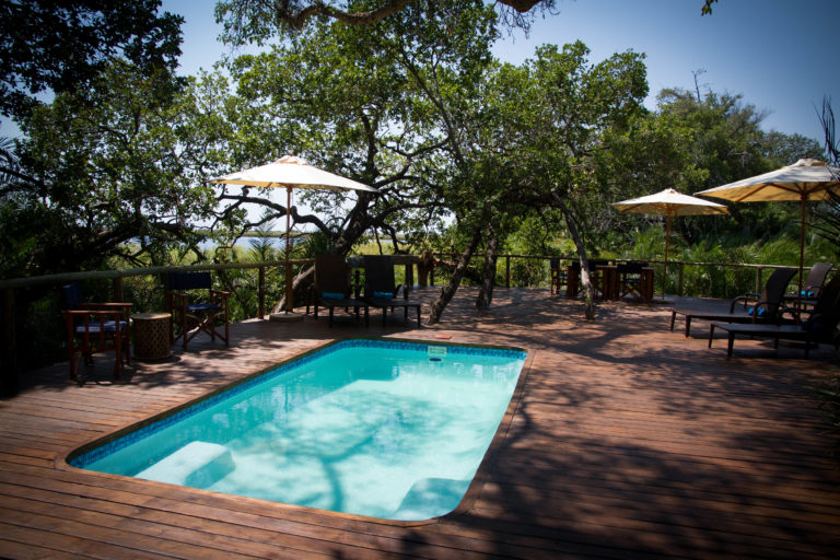 The attractive wooden pool deck area at Mopiri Camp