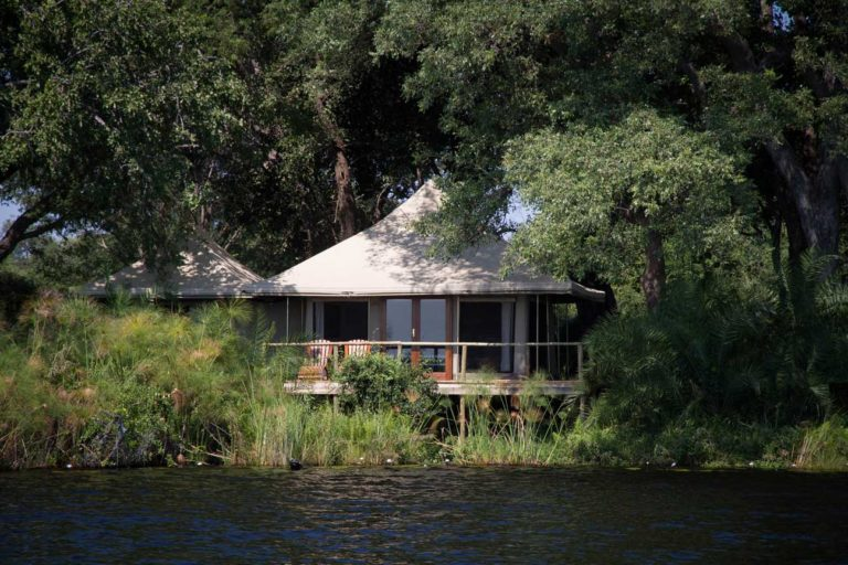 View of Mopiri Camp guest room from the lagoon