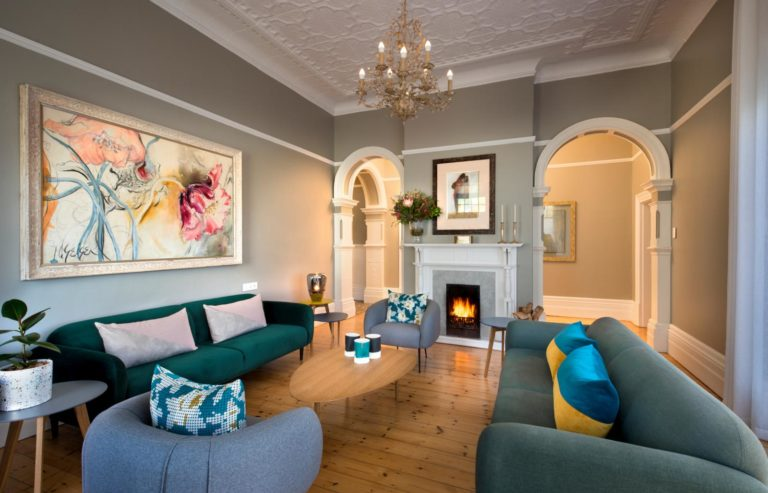 More Quarters Redcliffe House lounge area serene with fireplace
