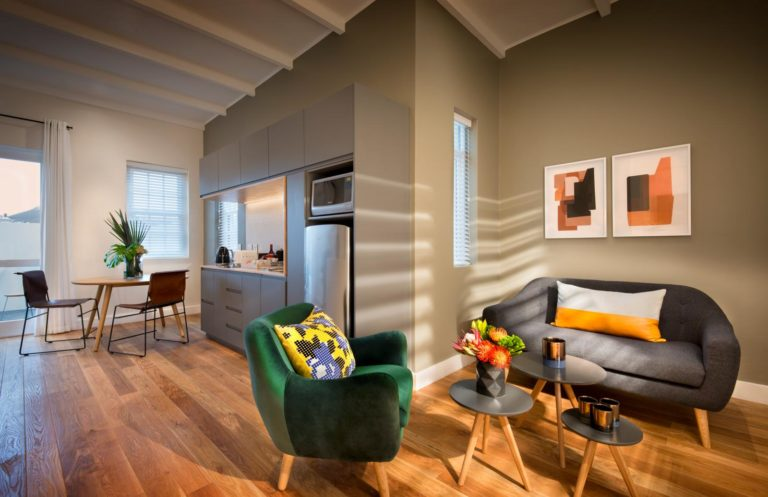 More Quarters luxury room open plan lounge & kitchenette area
