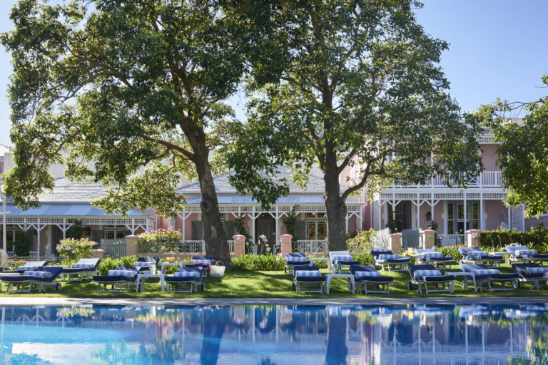 The jaw dropping pool area and sun loungers at Mount Nelson Hotel