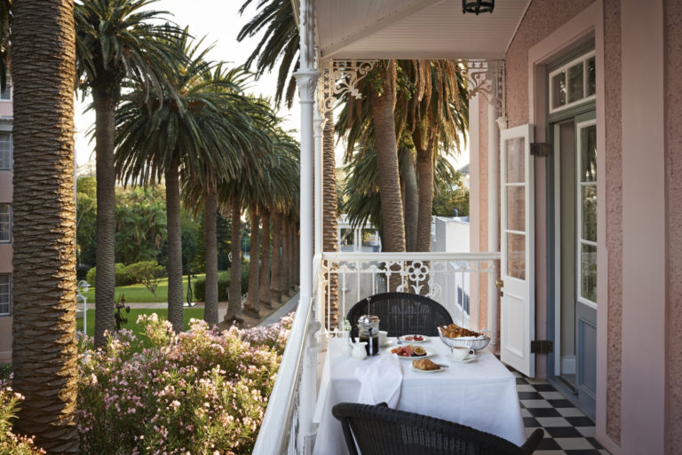 View of private balcony breakfast at deluxe studio suite at Mount Nelson