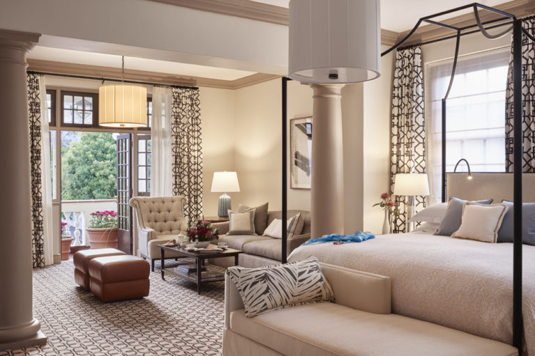 Classic decor of a deluxe studio suite at Mount Nelson Hotel