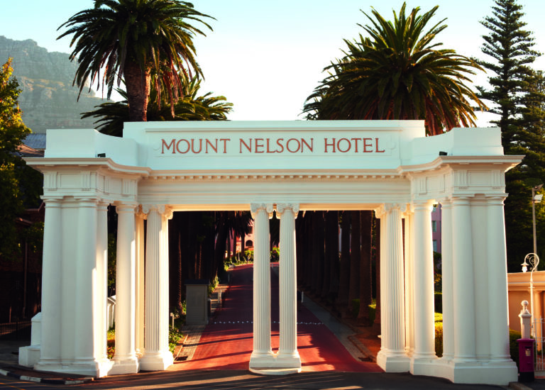 The grand entrance to the world renowned Mount Nelson Hotel