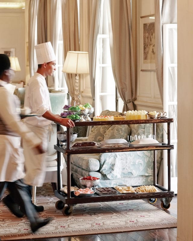 High tea trolley and staff at Mount Nelson