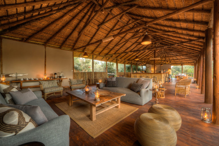 The open air main lounge and guest area at Nokonyana