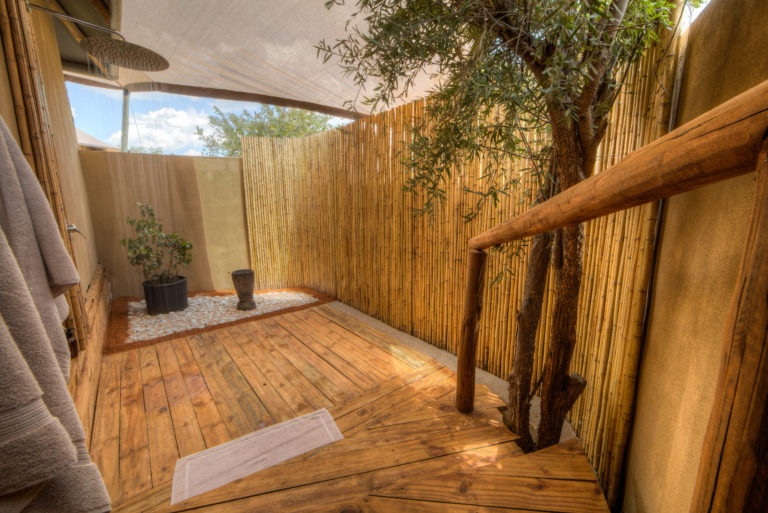 The outdoor shower is an attractive feature at Nokonyana