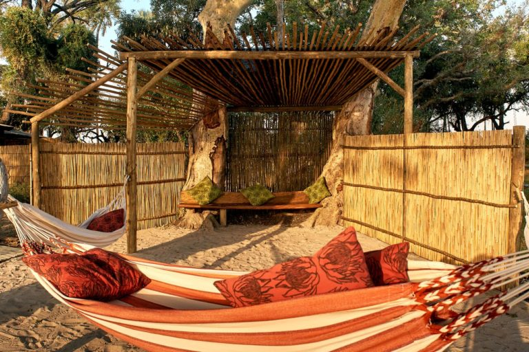 Relax between activities in the hammocks at Oddballs camp