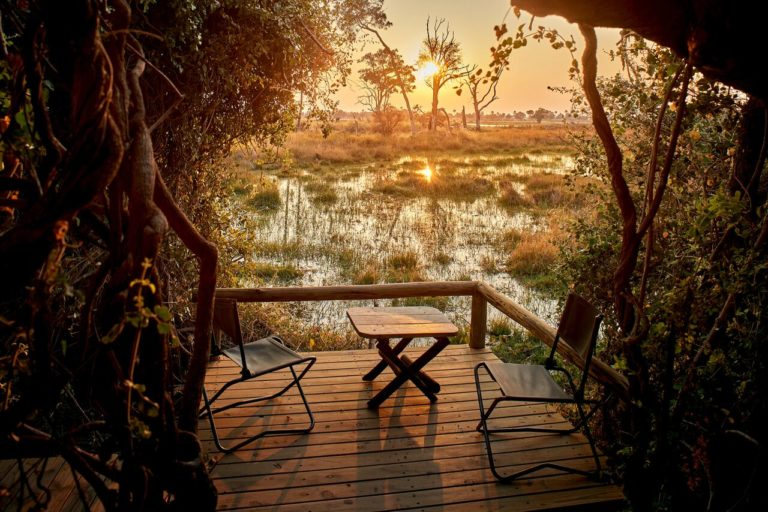 The Okavango from the viewing deck at Oddballs