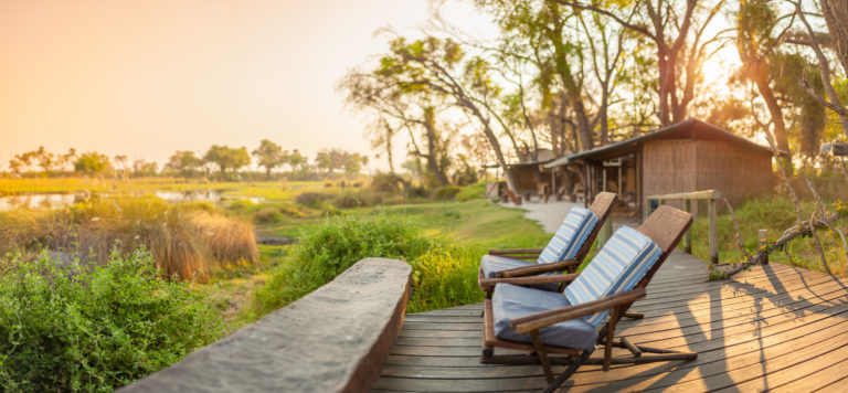 Enjoy Okavango views from the open deck at Oddballs Camp