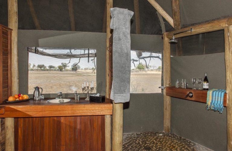 Okavango Horse Safari Mokolowane camp bathroom with shower