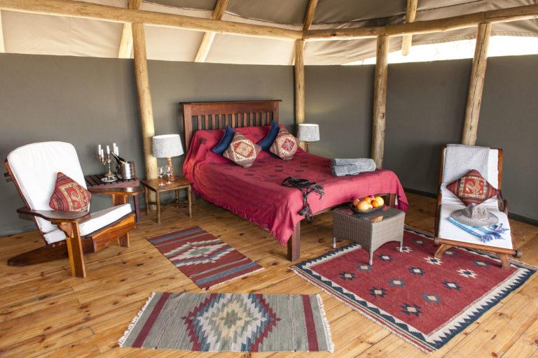 Interior layout of tented room at Mokolowane Camp