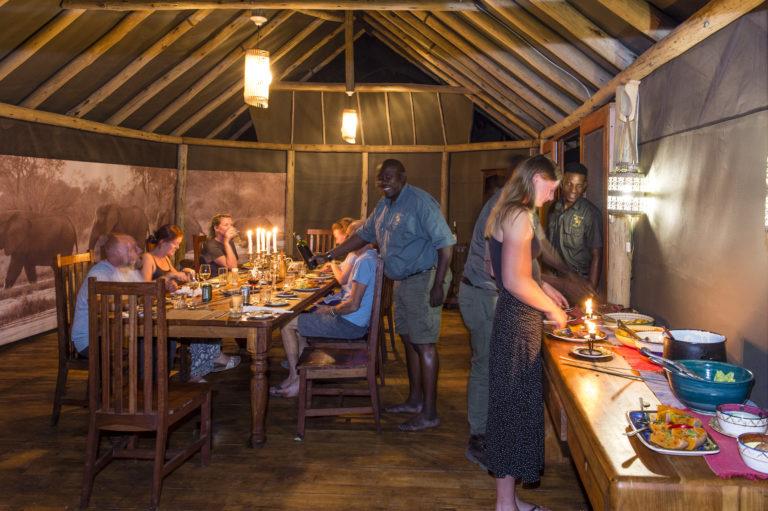 Buffet style dinner at Mokolowane Camp