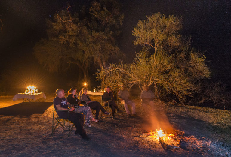 Around the campfire at Camp Kujwana
