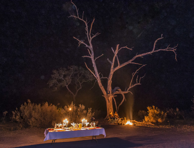 Dinner is prepared under the stars in the wilderness by Okavango Horse Safaris