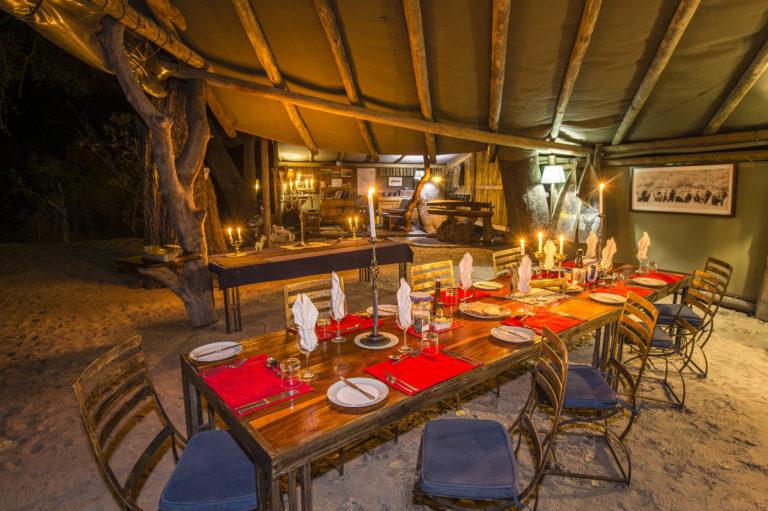 Okavango horse safari Kujwana camp dinner