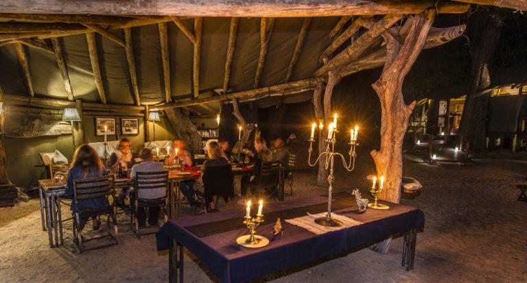 Dinner by lantern light at Kujwana Camp