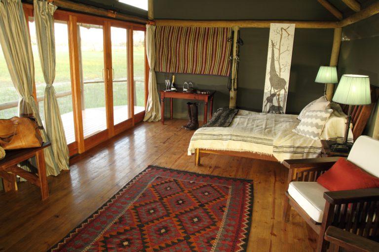 Interior of Kujwana camp guest suitewith Okavango Horse Safaris