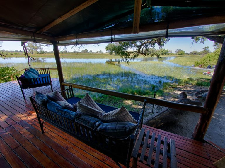 Kujwana Camp with view from the lounge area with Okavango Horse Safaris