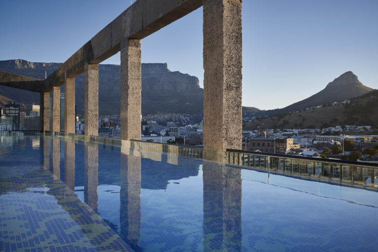 The incredibly designed swimming pool at the Silo Hotel