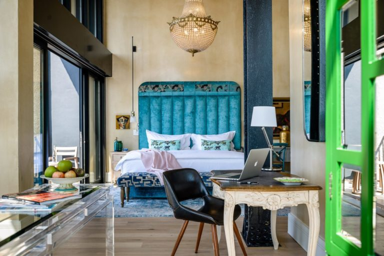 The stylish bedroom at the Silo Hotel