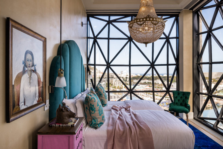 The luxurious Royal suite bedroom at the Silo