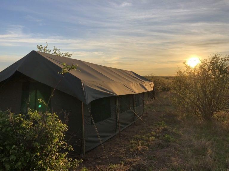 The guest tents at Tsau Hills in the Kalahari