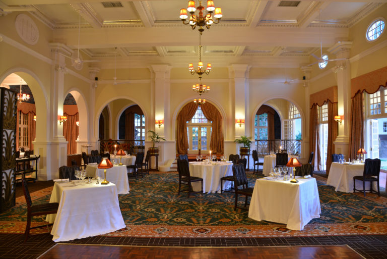 The stately dining room at Victoria Falls hotel offers gourmet meals