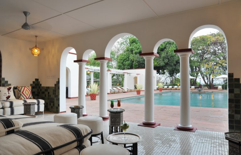 The Edwardian styled pool pavilion at Victoria Falls Hotel