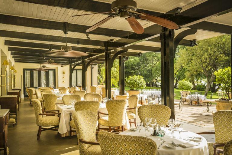 Terrace dining at the Royal Livingstone is an enjoyable affair