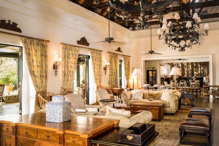 The Royal Livingstone's exquisite colonial interior decor in lounge area