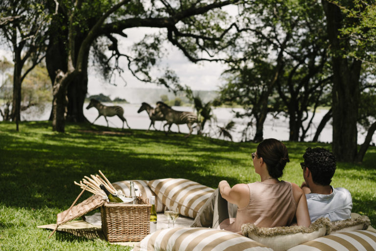 Decadent picnics can be arranged on Royal Livingstone's magnificent lawns