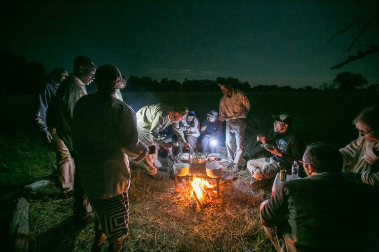 Bushman Plains Camp dinner in the bush