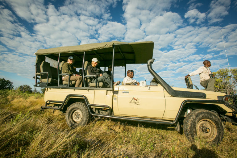 Bushman Plains Camp game drive with guests