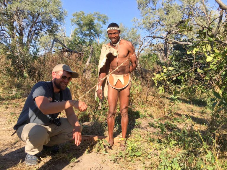 Bushman Plain Camp guest learning the ways of the wild
