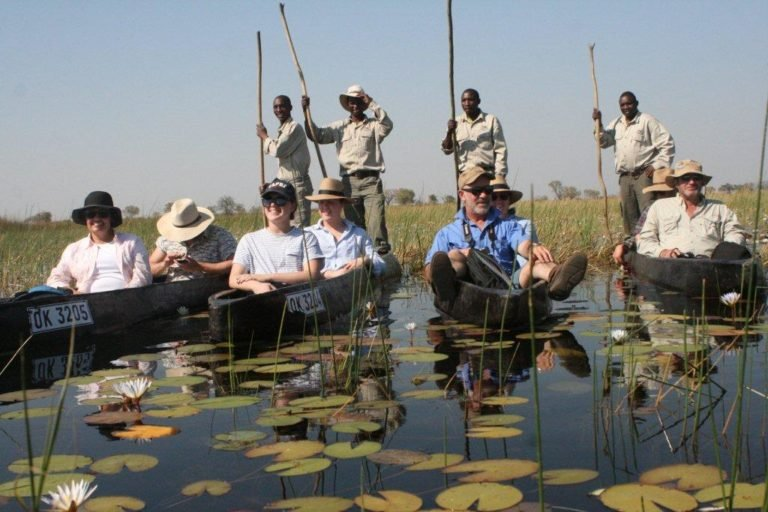 Tranquil mokoro excursion in the comnay of mokoro guides courtesy of Bushman Plains Camp