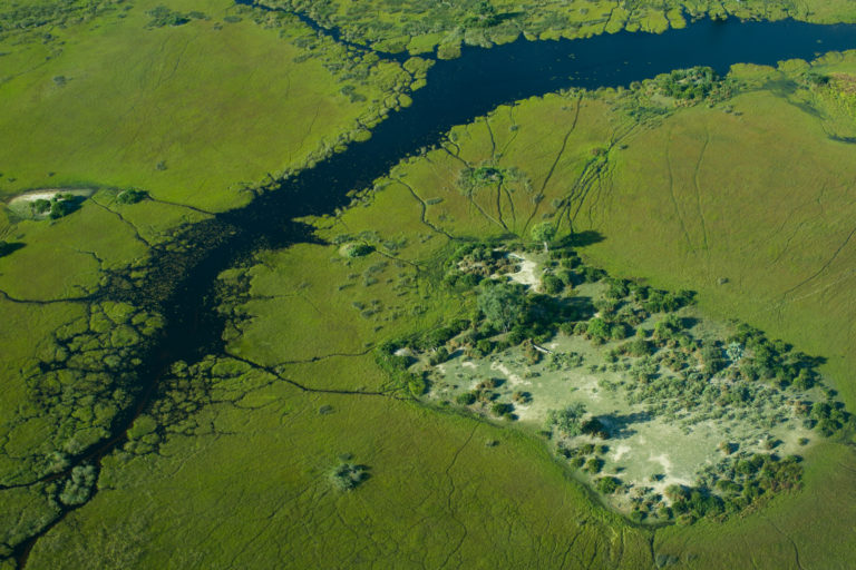 Aerial view of concession on which Bushman Plains Camp is located