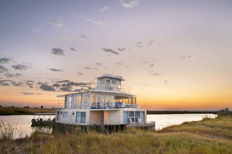 The exclusive Chobe Princess boat against beautiful scenery