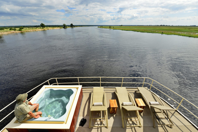 Front deck view of the Chobe Princess with plunge pool