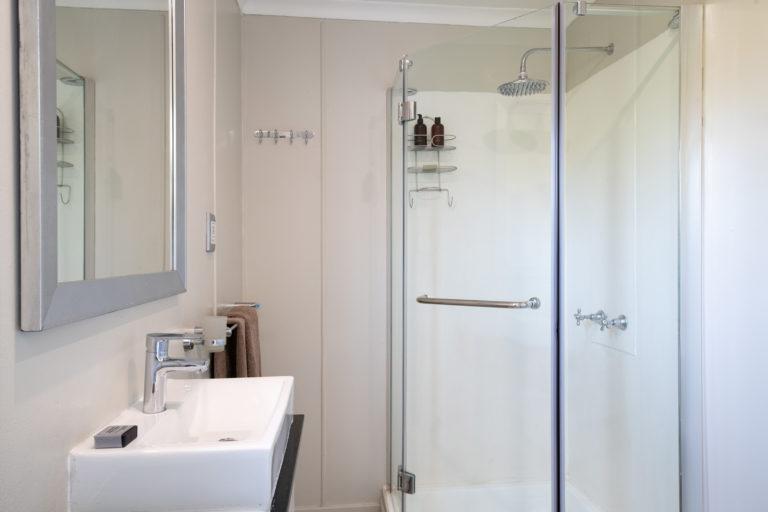 The en suite bathroom of guest cabin on board Chobe Princesses