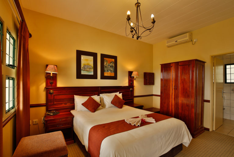 The tasteful interior decor of guest rooms at Maun Lodge