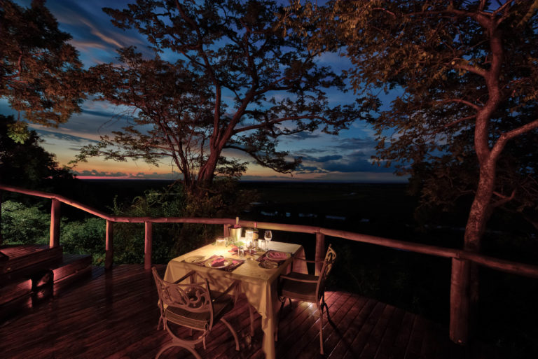 A private dinner for two on room deck at Muchenje Safari Lodge